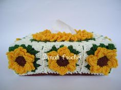 Dinah's Crochet Stuff: Floral Crochet Tissue Box Cover ~ Sunflower