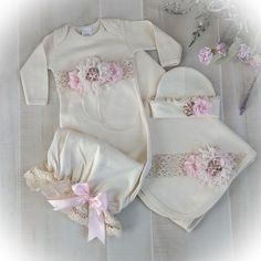 Items similar to Newborn Girl Layette, Baby Girl Coming Home Outfit, Newborn Gown, Pink Victorian Baby Outfit on Etsy Girls Coming Home Outfit, Take Home Outfit, Newborn Girl Outfits, Baby Girl Newborn, Newborn Clothing, Girl Clothing, Boy Outfits, Gabriela Sales, Onesie Dress