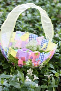 Fabric Collage Easter Basket Instructions -- easy, just use glue and shape squares over a balloon!