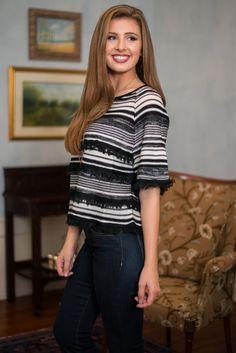 A Fine Line Sweater, Black-White