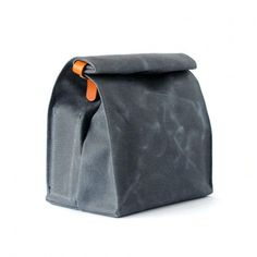 A simple gusseted lunch bag made from slate grey waxed canvas and oak bark  tanned bridle leather. ea857ce4e632e