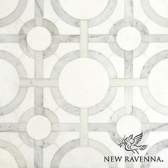 Classic... Cirque, a natural stone waterjet mosaic shown in honed Thassos and polished Calacatta Tia, is by Sara Baldwin for New Ravenna Mosaics.