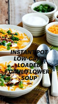 Loaded Cauliflower, Cauliflower Soup, Low Carb Recipes, Healthy Recipes, Healthy Meals, Keto Diet Drinks, Soups And Stews, Instant Pot, Breakfast Recipes