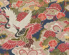 RW312 Quirky Wallpaper, Crane Design, Crane Bird, Stunning Wallpapers, Floral Kimono, Bunt, Indigo, Exotic, Oriental