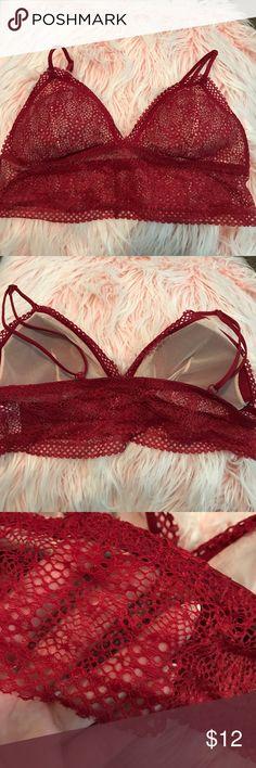 9984f3e3f42 Red Victoria s Secret Lace Bralette Large Never worn. Has removable cups.  Longline bottom Victoria s