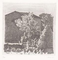 Giorgio Morandi - Il Poggio al mattino - Acquaforte su zinco, es. 17/50 - cm. 24,6x24,8 (lastra), cm. 37,7x50,3 (carta)