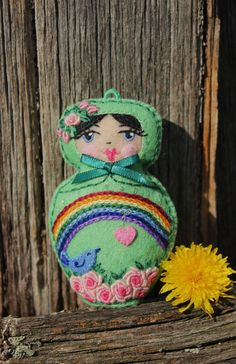 Matryoshka  Hand Embroidered Felt with Bird by TheSnowQueensGarden, $19.50