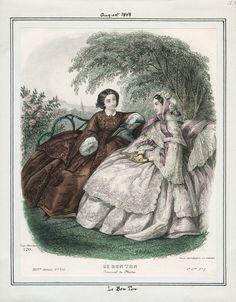 August, 1858 - Le Bon Ton.Victorian fashion . Fashion plate