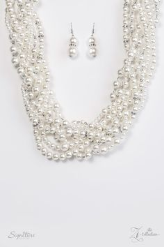 "Zi Collection- ""The Stevie"" White Faux Pearl Rhinestone Necklace & Earring Set - Paparazzi Accessories"