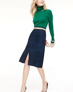 NOV '15 Style Guide: J.Crew women's Collection Italian cashmere turtleneck sweater, Collection A-line midi skirt in suede, classic leather belt, mixed crystal bracelet and Collection Elsie tie silk pumps.