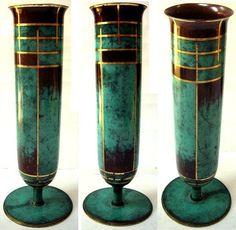 WMF Ikora Vase - Paul Haustein - 1929 / 1933_Art Déco - 35 cm - grün patiniert
