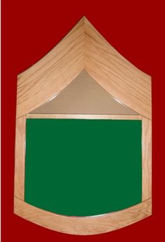 Shadow box in the shape of the Army enlisted stripes. Holds 3' x 5' flag.
