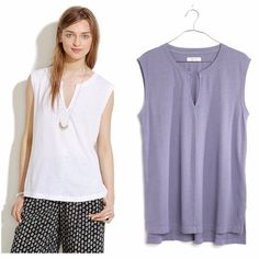 New Madewell Womens Split-Neck Sleeveless Soft Slub Knit Tee Shirt Sizes XS-XL  #Madewell #BasicTee