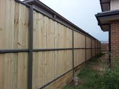 Image result for ezi clip fence with sleeper retaining wall