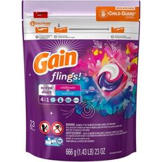 Gain Flings Laundry Detergent Pacs, Wildflower And Waterfall (Blue), 23 Loads Gain Fireworks, Tide Pods, Homemade Laundry Detergent, Cleaners Homemade, Play, Smell Good, Wild Flowers, Baby Born