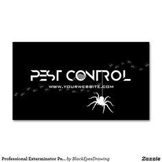 Professional Exterminator Pest Control Black White Business Card