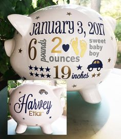 Piggy bank with name for baby gift baptism gift from grandparents personalized piggy bank baby boy piggy bank baby birth stats gift baby boy gift piggy bank new baby gift baby bank negle Images