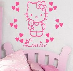 HELLO KITTY - Wall art sticker with hearts and personalised name - kids bed K6
