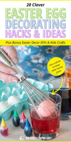 Looking for Easter egg decorating hacks & easy Easter DIY, crafts, decoration, & basket ideas? The Krazy Coupon Lady has got you covered with fun, simple ways to celebrate your best Easter yet. Get Easter egg dying tips & hacks, easy indoor kids Easter craft ideas, unique egg dye techniques, basket alternatives for kids, simple spring decor DIYs, and a simple Easter bath bomb recipe that's perfect when asking how to keep your kids busy at home- party or no party! Easter Toys, Plastic Easter Eggs, Decorating Hacks, Egg Decorating, Making Easter Eggs, Liquid Food Coloring, Egg Dye, Bath Bomb Recipes, Coupon Lady