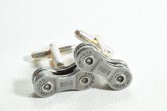 Bike Cufflinks Shimano Gifts for Cyclists Bike Chain Anniversary Gifts, Silver Anniversary, Bike Chain, Bike Rider, Men's Jewelry, Unique Jewelry, Shimano Bike, Birthday Gifts, Cufflinks