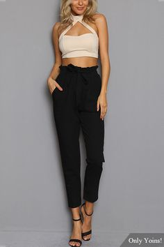 Black High Elastic Belt Waist Casual Pants
