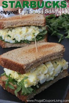 Copycat Starbucks Recipe - The higer this sandwich is, the better because this Egg Salad Recipe is delicious. Great picnic recipe or for a Saturday lunch. Cheap and Easy Frugal Sandwiches Egg Salad Sandwiches, Soup And Sandwich, Sandwich Recipes, Egg Recipes, Cooking Recipes, Healthy Recipes, Starbucks Recipes, Starbucks Egg Salad Recipe, Fruit Smoothie Recipes