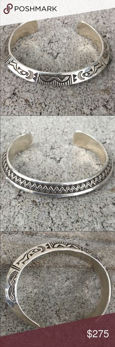 Randy Secatero Solid Sterling Bracelet Solid Sterling silver Navaho bracelet purchased from artist Randy Secatero at Haskell Indian Nations Art Market, Lawrence KS. Very heavy bracelet. Not eligible for bundle discount. Jewelry Bracelets