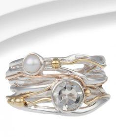 Organic Silver, Green Amethyst & Pearl Ring