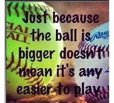 So true boys are always saying how softball is easier but guess what it's not you have less time to think u have to have fast reactions. Fun Fact:In baseball you have 2 seconds to think to swing in softball you have of a second to decide. Softball Workouts, Softball Pitching, Softball Players, Fastpitch Softball, Girls Softball, Softball Stuff, Softball Things, Softball Cheers, Softball Room