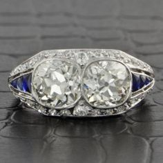 Art Deco Twin Diamond Ring by Gillot & Co.  $16,999.00  -1920