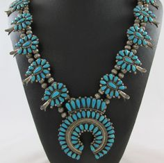 VINTAGE ZUNI JACK WEEKOTY STERLING SILVER & TURQUOISE SQUASH BLOSSOM NECKLACE