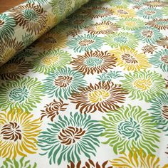 Laminated Freshcut graphic mums brown cotton fabric  1 yard on Etsy, $17.49