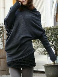 Dark Grey Collapse Of Shoulder Batwing Pullovers Sweater - Sheinside.com Mobile Site