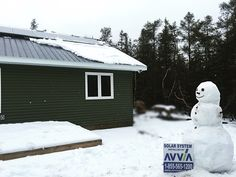 Frosty admiring the #CleanEnergy prod by his #OffGrid #solar system! Contact us today for #energy #independence info