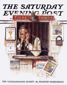 """Saturday Evening Post - 1937-04-24: """"Ticket Agent"""" (Norman Rockwell)"""