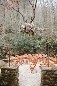Gorgeous floral decor for outdoor wedding at Spence Cabin in Elkmont, Great Smoky Mountains National Park - click to view more! @Lisa Phillips-Barton Foster Floral Design
