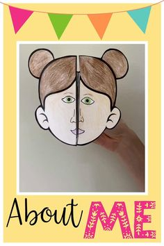Get to know your students with this all about me foldable craft. Ideal for back to school season or a 'myself' topic.  There are 9 templates so children can pick one that best matches their hair style. They then draw eyes, eyebrows, skin/hair color and lips. The inside prompts them to add some information about themselves - name, age, favorite colors, something that makes them smile and something they are good at. All About Me Project, All About Me Crafts, All About Me Art, All About Me Activities, First Day Of School Activities, Preschool Learning, Kindergarten Activities, Preschool Activities, All About Me Booklet