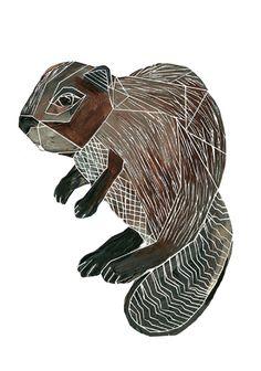 "Beaver ""los Animales"" by Sarah Fitzgerald Beaver Drawing, Beaver Logo, Fall Clip Art, Wood Badge, Canadian Art, Cute Illustration, Design Inspiration, Tattoo Inspiration, Tatoo"