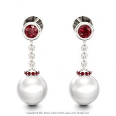 """White Gold Ruby #Pearl Earrings - """"Parallel Worlds"""""""