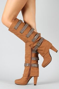 Strappy Cuff Knee High Boots $42