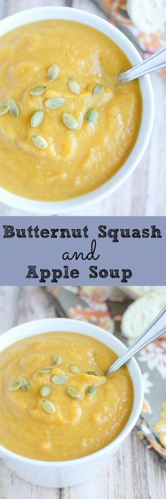 Butternut Squash and Apple Soup - this healthy and delicious soup is going to become your fall favorite!