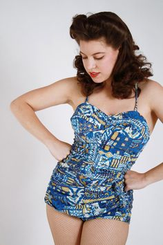 Vintage 1950s Tiki Hawaiian Cotton Pin Up Bathing Suit by FabGabs, $95.00