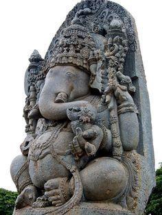 Statue in Halebid, Karnataka, India. Photo by Joel Burton.