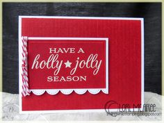 Smiling while Stamping: Holly Jolly homemade Christmas card using My Favorite Things Grand Holiday Greetings stamp set