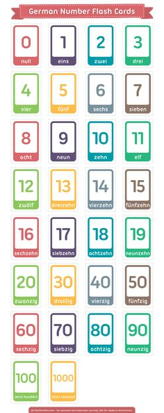 Free printable German number flash cards. Download them in PDF format at http://flashcardfox.com/download/german-number-flash-cards/