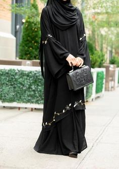Khalilah Abaya – Al Shams Exceptional Islamic Apparel New Abaya Style, Abaya Designs Latest, Burqa Designs, Abaya Pattern, Niqab Fashion, Fashion Dresses, Muslim Women Fashion, Islamic Fashion, Black Abaya