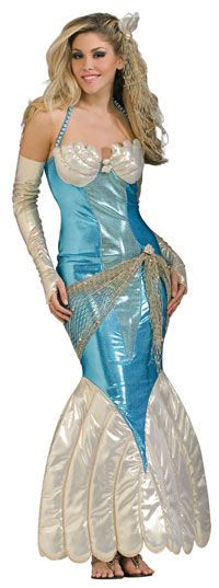 About Costume Shop Mermaid Costume - Mermaid Adult CostumeIt's Hotter under the Water!Perfect for your Under the Sea Party!Costume includes: Headpiece, dress and glovelets.Sizes available: One size fits most*Sandals Not includedProduct Page Adult Mermaid Costume, Mermaid Halloween Costumes, Girl Costumes, Adult Costumes, Costumes For Women, Costume Ideas, Clever Costumes, Adult Fancy Dress, Blue And White Dress