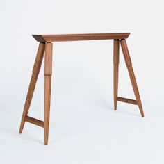 The contemporary Rockport Sawhorse provides an array of endless uses - table trestles, a narrow drink rest table, textile display, and countless others. Furniture Legs, Accent Furniture, Metal Side Table, Flat Ideas, Woodworking Techniques, Hardwood, Stool, Flooring, Design