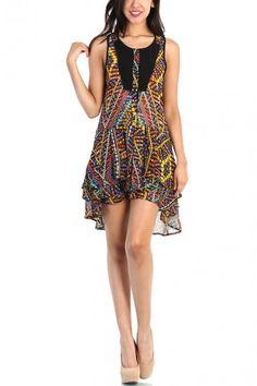 Multicolor Chiffon Dress - Black