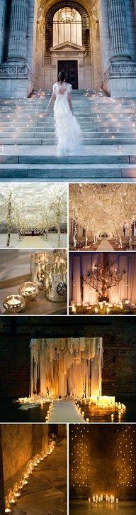 mucho brillo en la decoracion de la entrada a una boda original